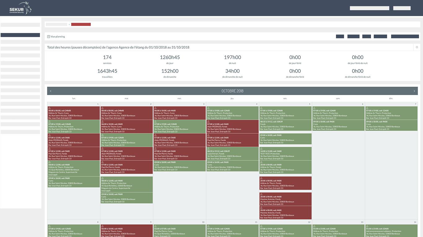 planning logiciel agence securite ganrdiennage surveillance